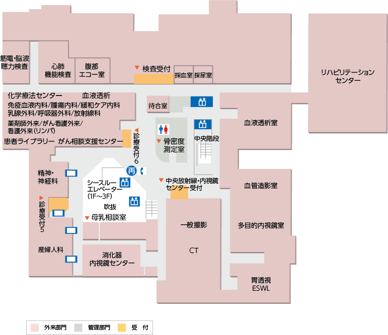 病院配置図  3階の画像です。