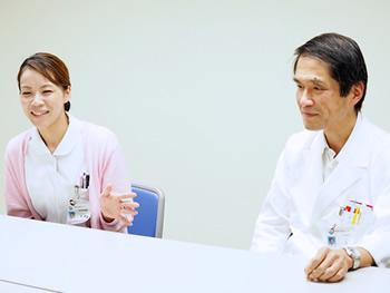 内科医長・辻 和雄 医師、下條 恵 看護師