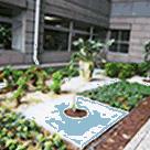 二階東玄関の中庭 病院設備 環境 外来待合室や病棟について