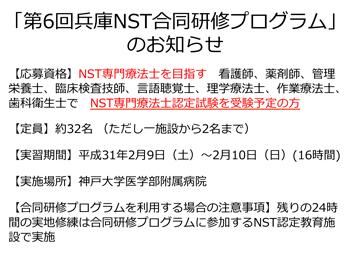 第6回兵庫NST合同研修プログラムのお知らせの画像